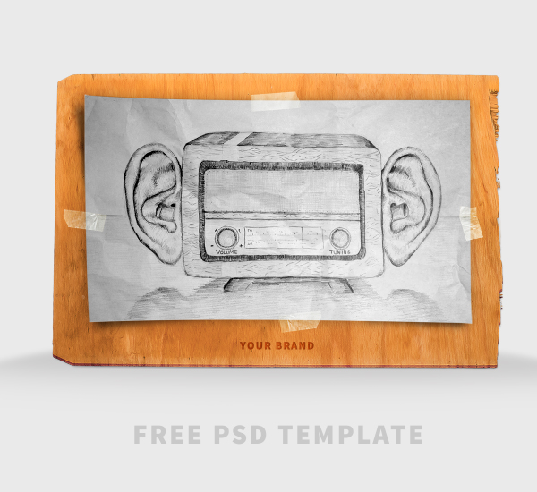 Free PSD Template - Scribble Board Mock-UP