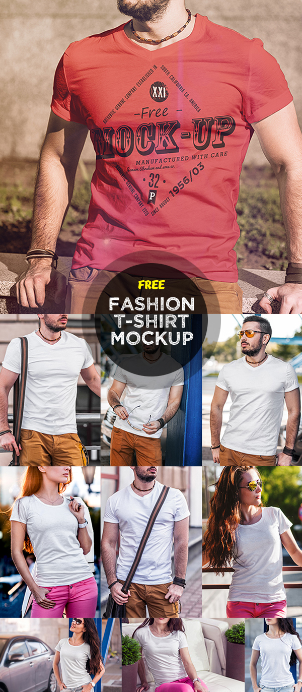 Free Men and Women T-Shirt Fashion Mock-Up