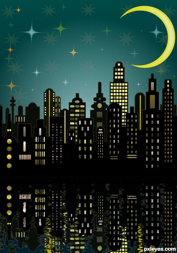 Create a Big Night City with Glowing Moon and Rippled Water Reflections in Illustrator Tutorial