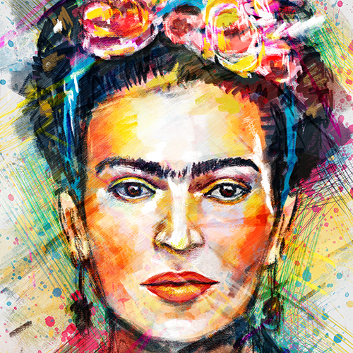 Frida Kahlo Digital Portrait by Tracie Andrews