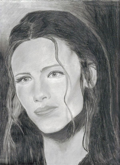 Jennifer Garner Pencil Drawing Portrait by Catherine Longi