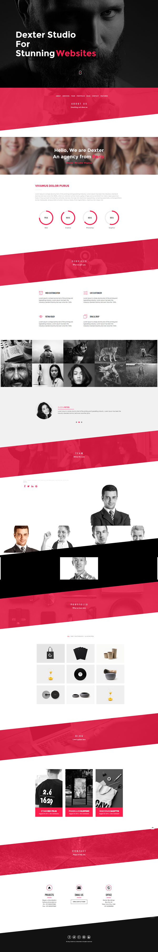 DEXTER - Multipurpose One Page Slant WP Theme