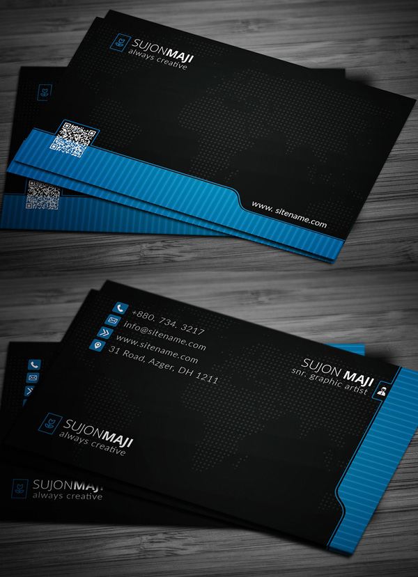 New Elegant Business Card PSD Templates Design Graphic - Template of business card