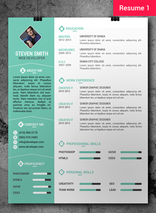 Free CV / Resume PSD Templates | Freebies | Graphic Design