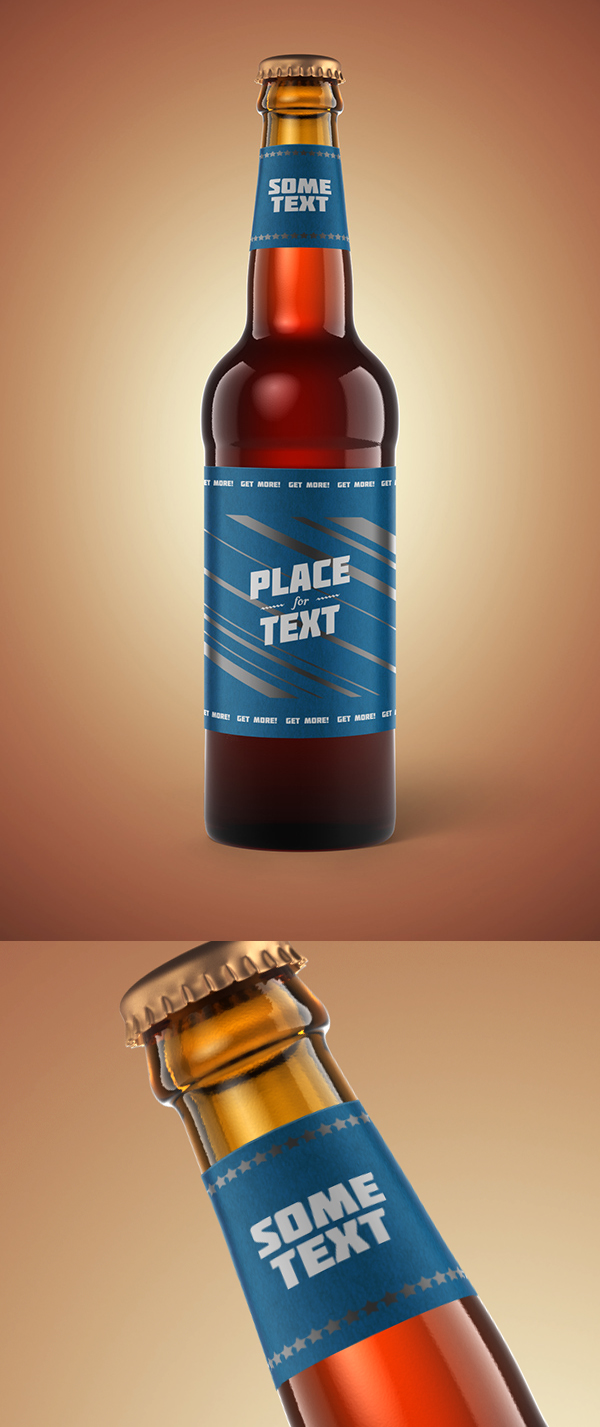 Classic Beer Bottle PSD Mockup