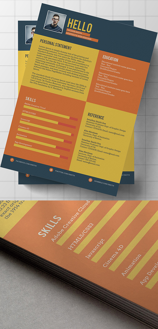 Free Flat Style Resume Template