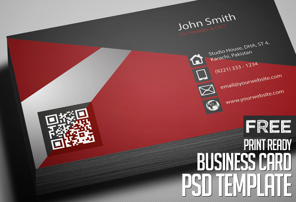Free Creative Red Business Card PSD Template