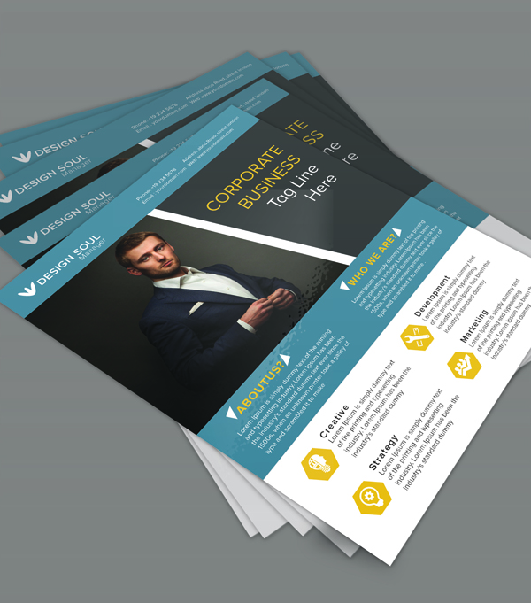 Free corporate business flyer psd template freebies for Photoshop brochure template free