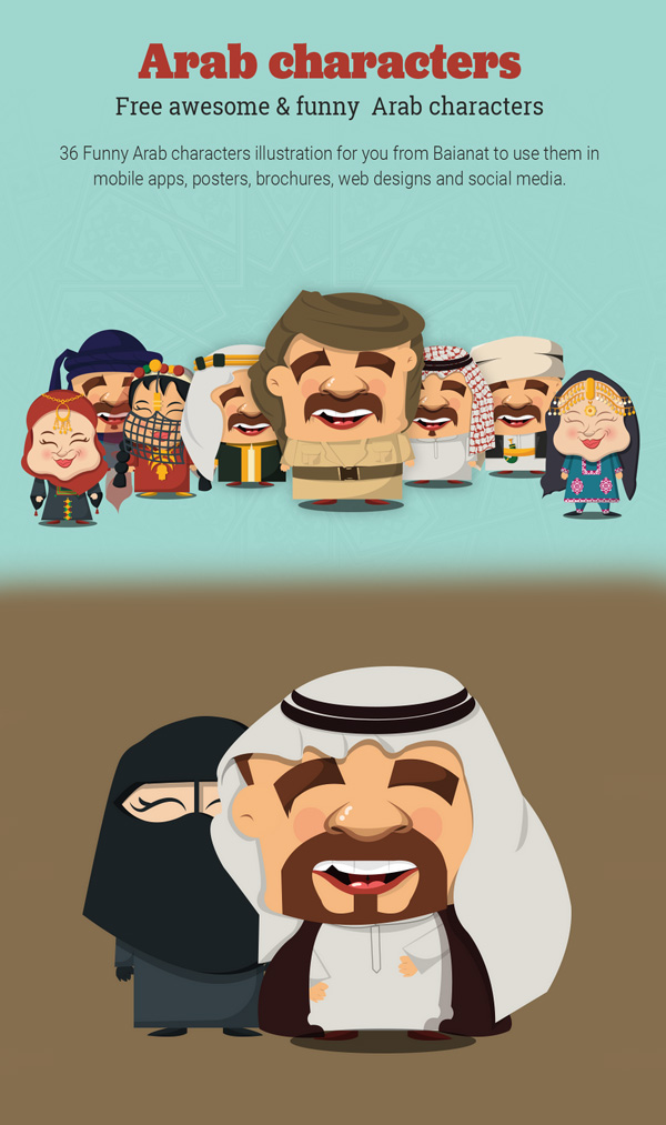 Free Arab Characters Illustrations / PSD