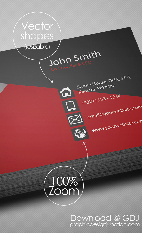 Free Creative Red Business Card PSD Template - 5