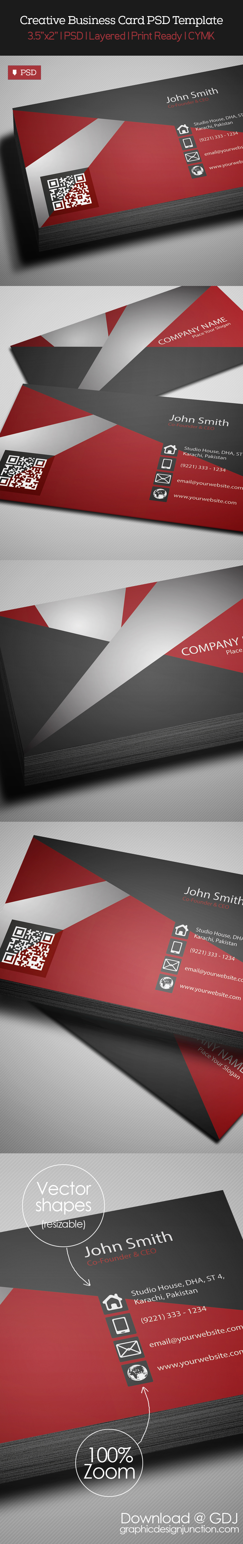 Free Creative Red Business Card PSD Template Freebies