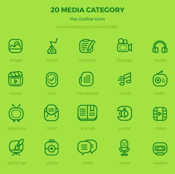 Free 20 Media Category Icons by HevnGrafix Creative