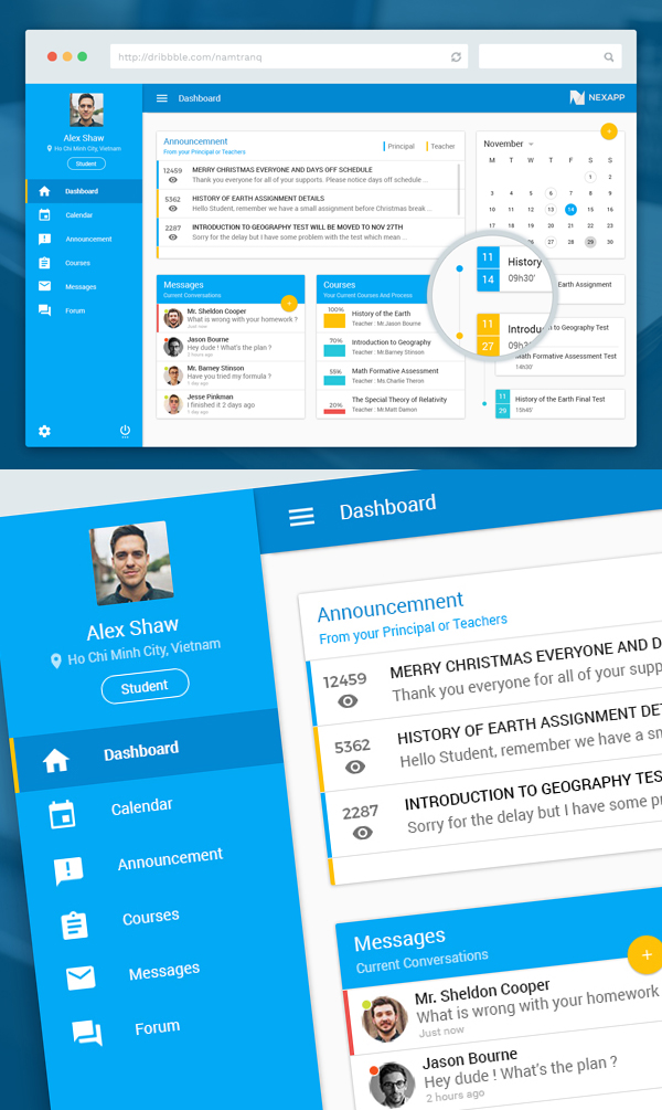 Free Education Dashboard PSD Template