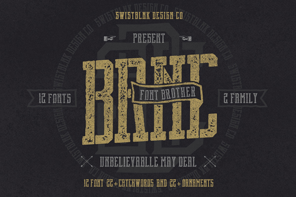 Brnc Font Brother (12 Font 22+ Catchwords 22+ Ornaments)