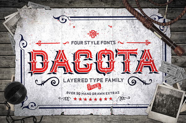 Dacota Layered Typeface + Extras