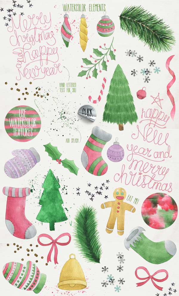 Merry Christmas Fonts and Watercolor Illustrations