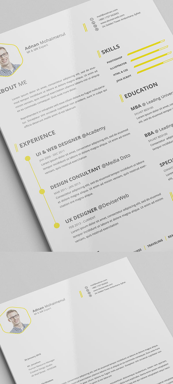 Free CV/Resume PSD Template With Cover Letter  Templates For Resumes