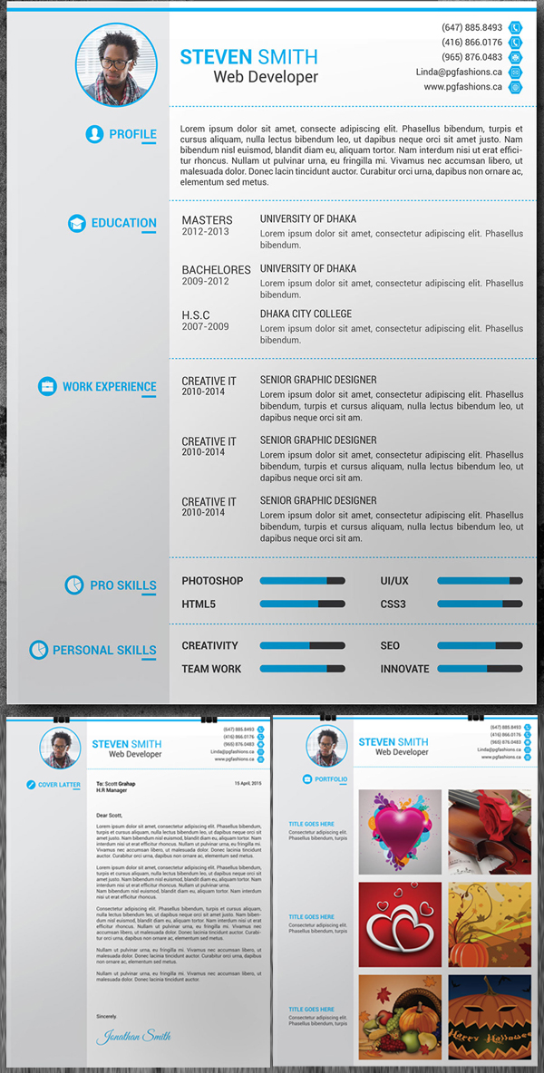 Great Free Resume, Cover Latter, Portfolio PSD Template
