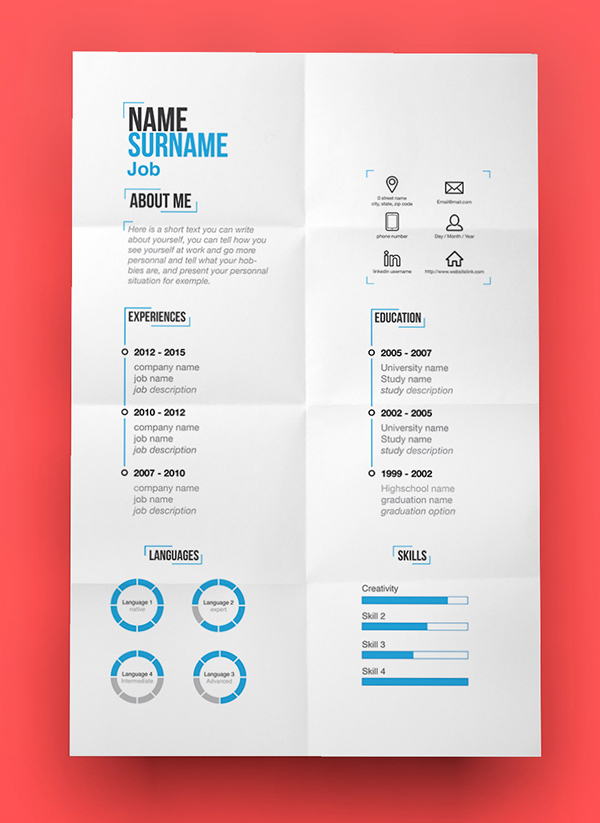 free modern resume template psd - Resume Templates For Graphic Designers