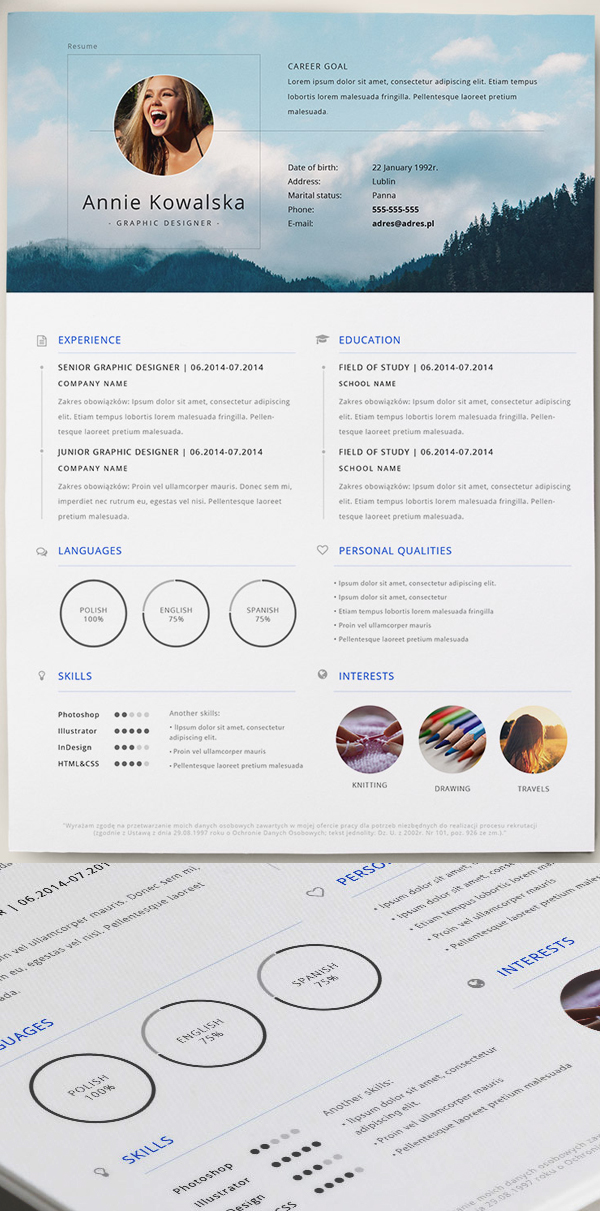 Colorful Stripes Template Resume Illustrator File Resumetemplates