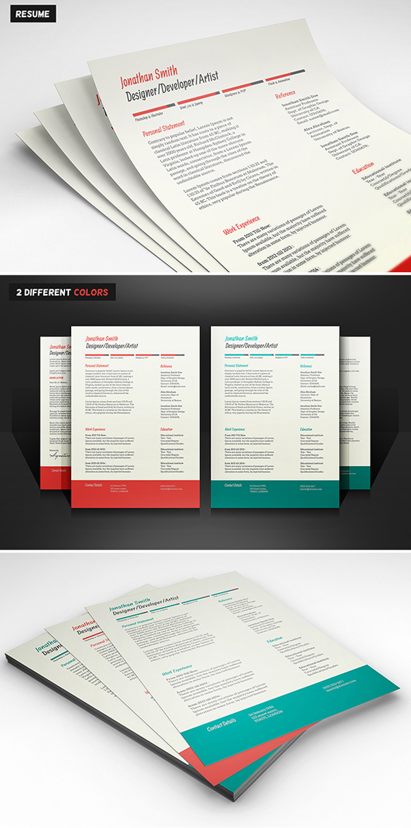 Free Resume U0026 Cover Letter PSD Templates (2 Colors)  Colorful Resume Templates
