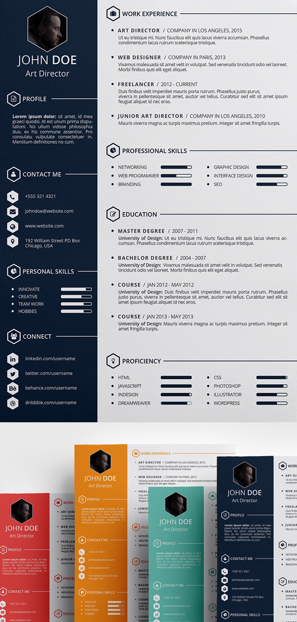 Free Creative Resume Template (PSD, ID)  Free Resume Design Templates