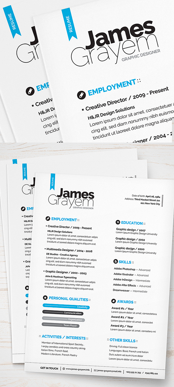 free resume cover letter cv template psd - Contemporary Resume Templates