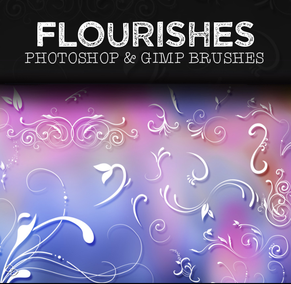 Free Flourishes Photoshop and GIMP Brushes - (28 Brushes)