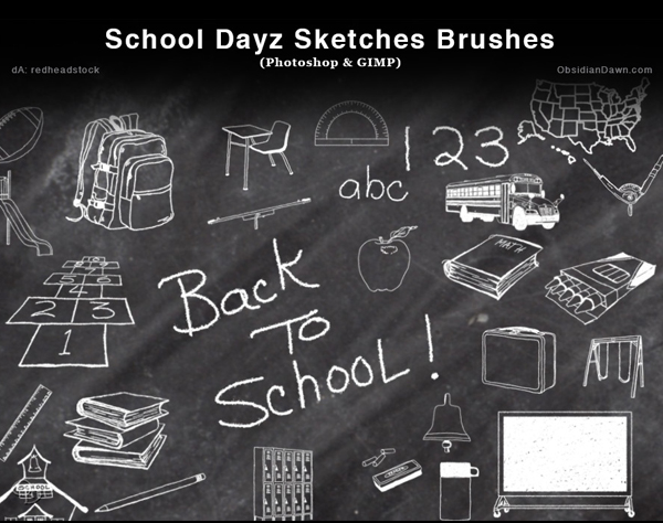 Free School Dayz Sketches Photoshop and GIMP Brushes - (27 Brushes)
