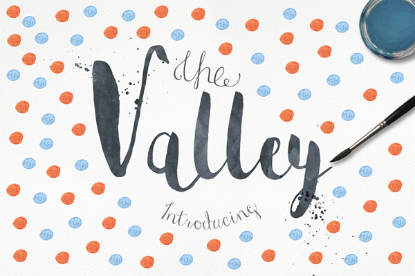 Valley watercolor font drawn by hand