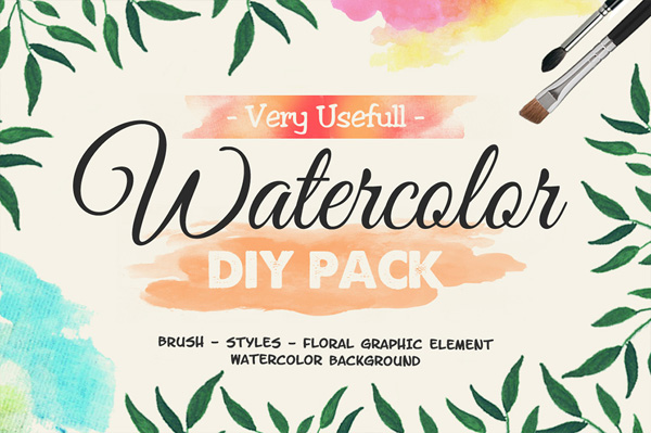 Watercolor DIY Pack is the great watercolor pack