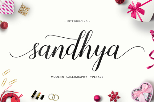 Sandhya Script - a fresh new and modern script with decorative characters