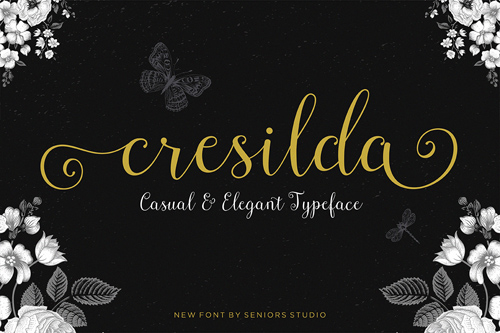 Cresilda Script is a beautifully fluid, handwritten calligraphy font