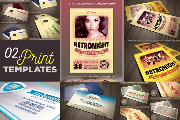 Free 4 business card templates & 1 flyer template
