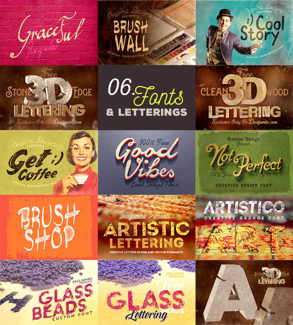 Free 9 custom fonts & 4 creative lettering sets