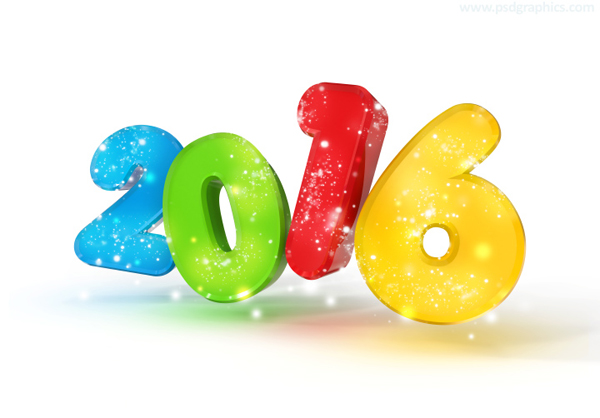 New Year 2016 3D Numbers PSD