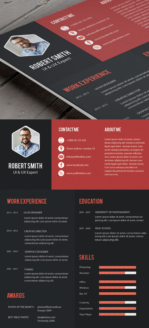 Free Professional Cv Resume And Cover Letter Psd Templates