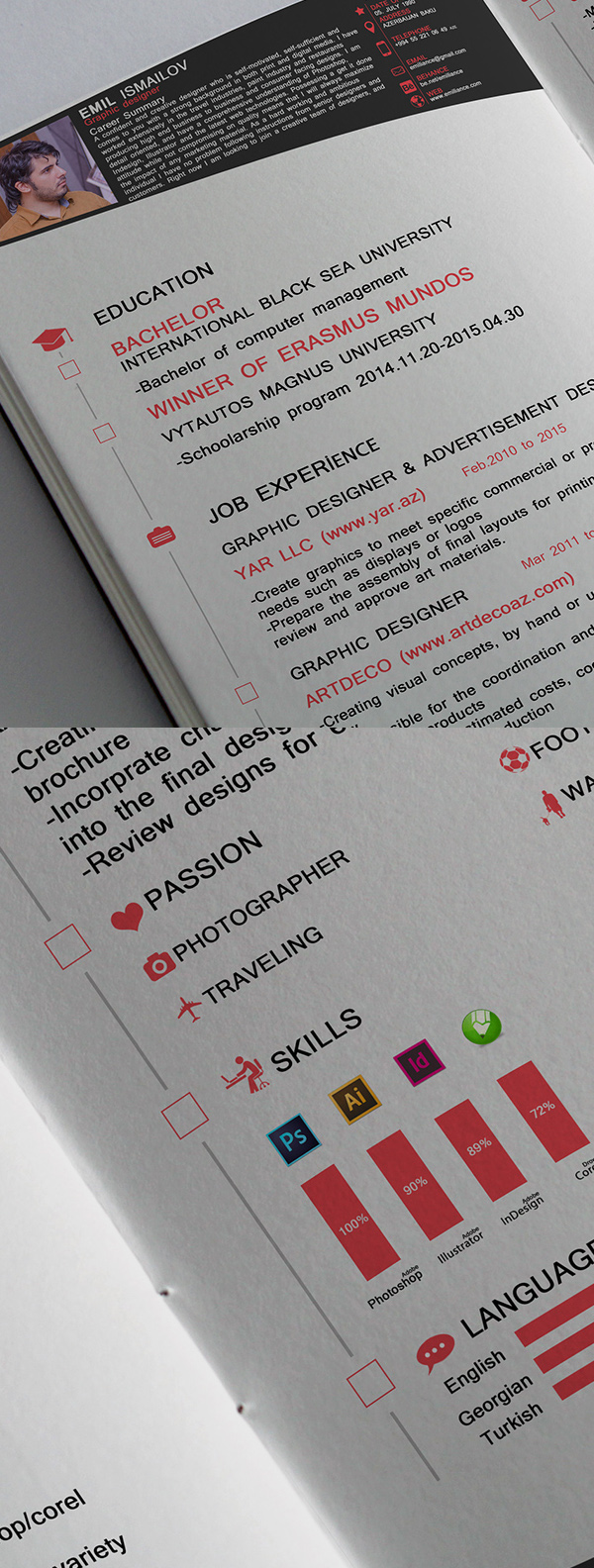 Free Professional Cv/Resume And Cover Letter Psd Templates