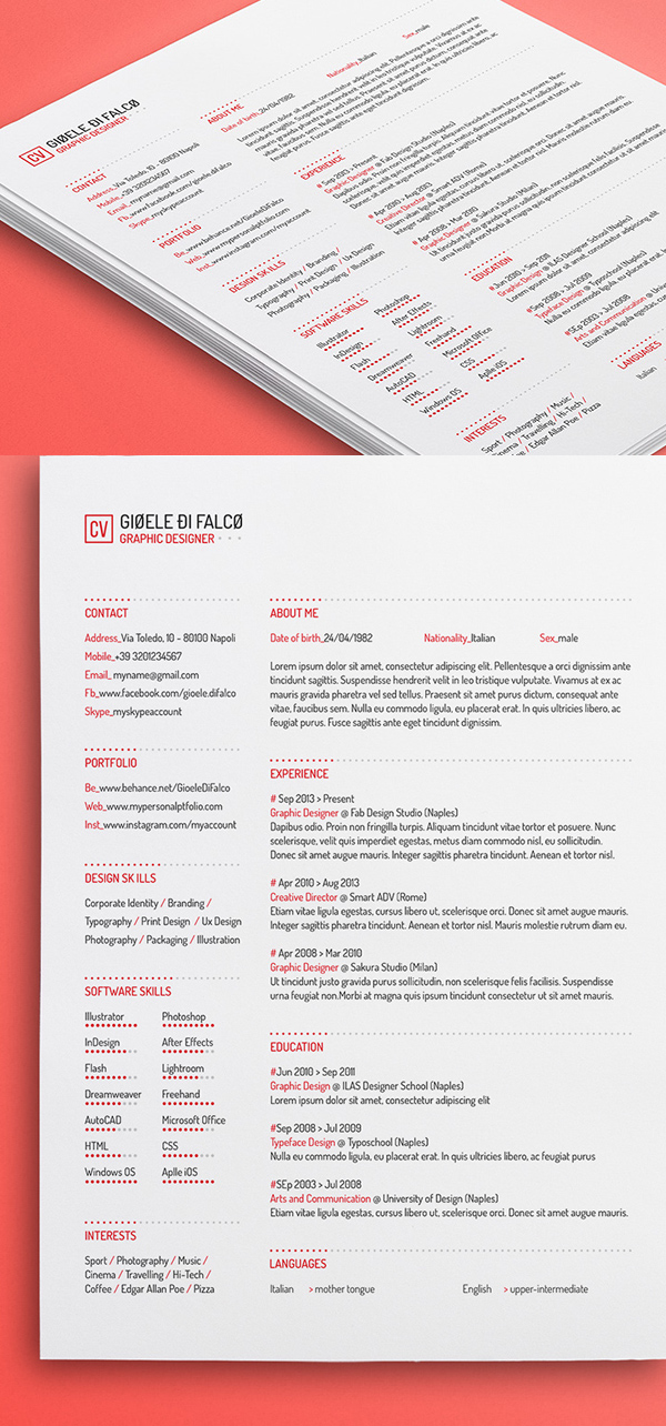 Free Clean Resume Template 3 Colors