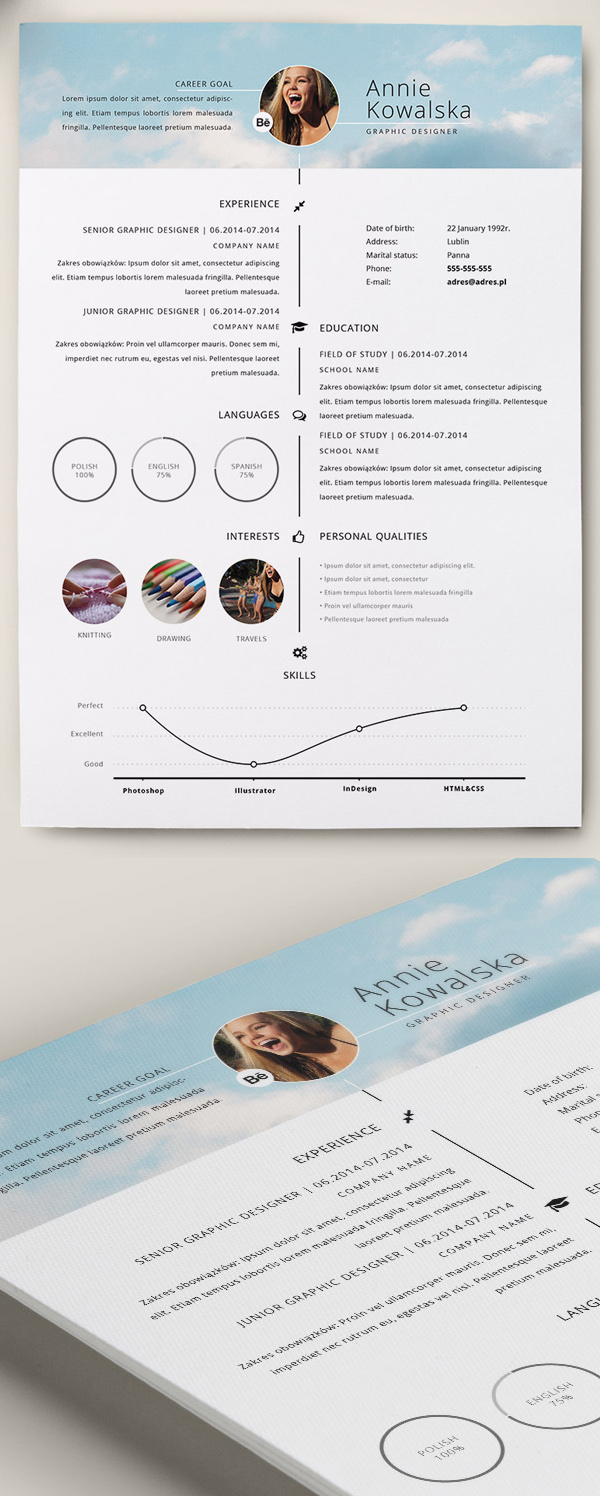 Berühmt Free Professional CV/Resume and Cover Letter PSD Templates  IC03