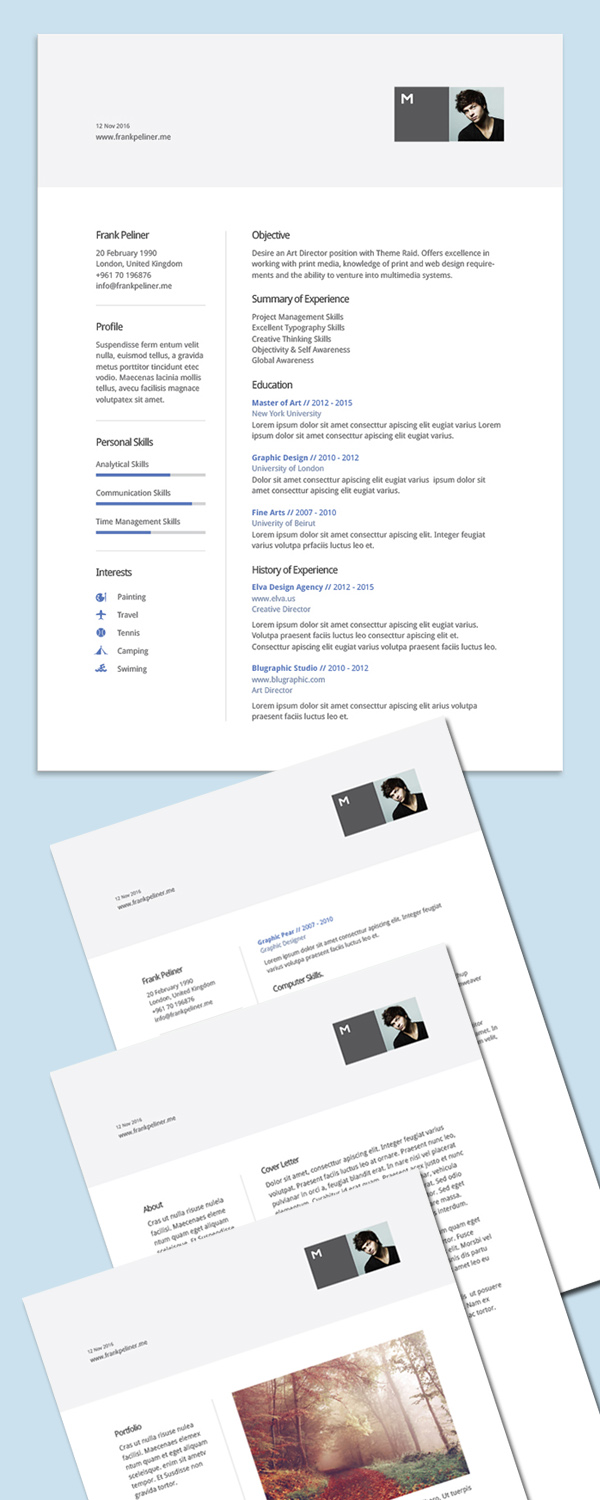 Free Professional CvResume And Cover Letter Psd Templates