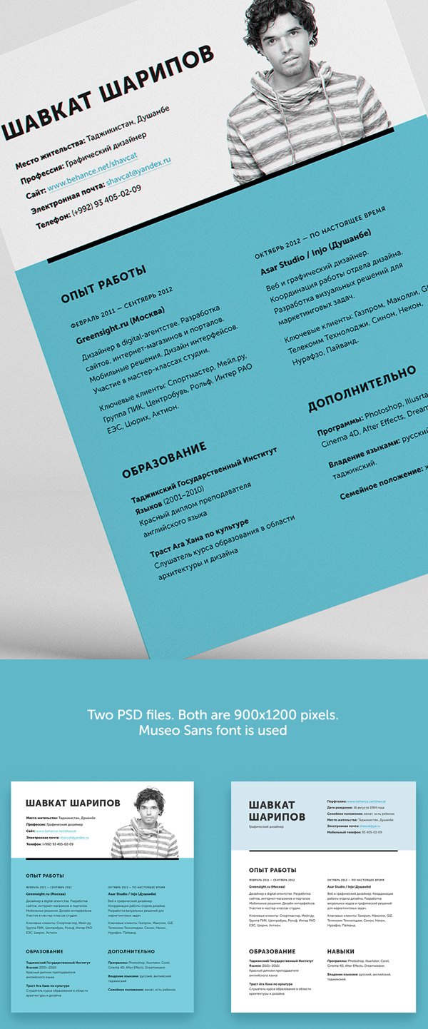 free one page psd resume cv template