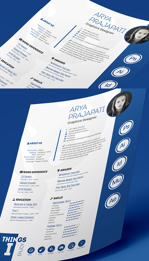 Gut gemocht Free Professional CV/Resume and Cover Letter PSD Templates  SO25