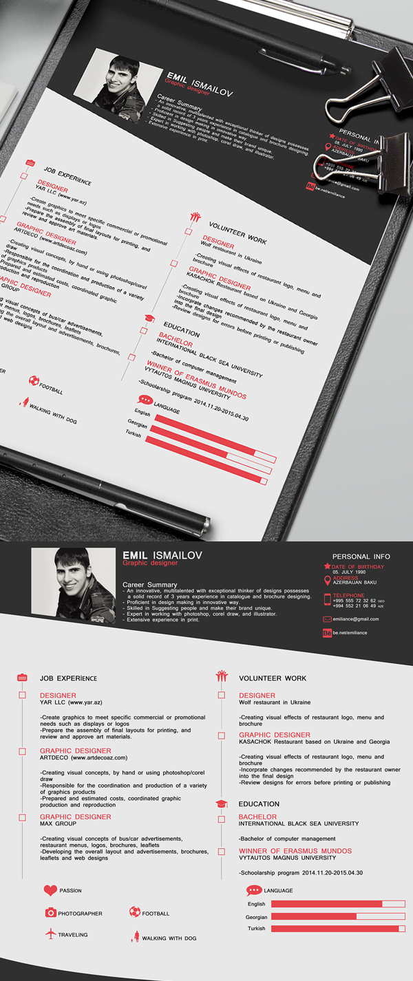 Free Professional CV Resume PSD Template