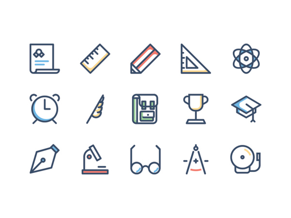 School Icon Set (15 Icons)