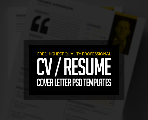 15 free professional cvresume and cover letter psd templates - Free Resume And Cover Letter Templates