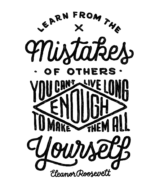 Learn from the Mistakes handwriting lettering