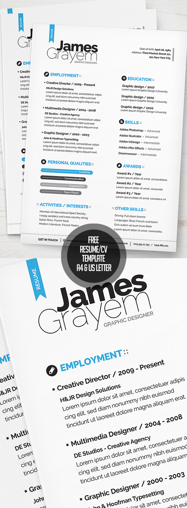 15 free psd cvresume and cover letter templates freebies free resume cv template a4 us letter psd thecheapjerseys Gallery