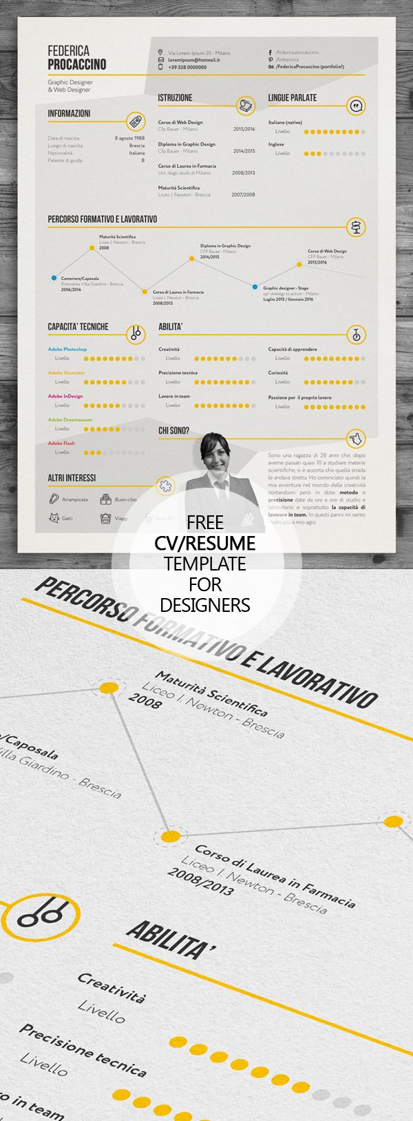 Free Creative Freelancer Designer Resume Template (PSD)