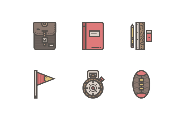 Free Retro High-School Icon Pack